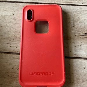 Red/ light blue life proof iPhone X phone case
